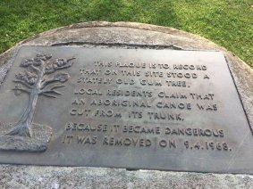 Canoe tree plaque - Gandolfo Gardens Rally at Moreland Station