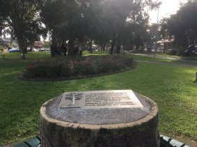Canoe tree monument - Gandolfo Gardens Rally at Moreland Station