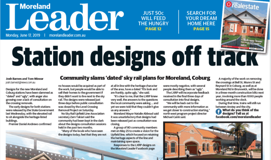 Moreland Leader: Station Designs Off Track