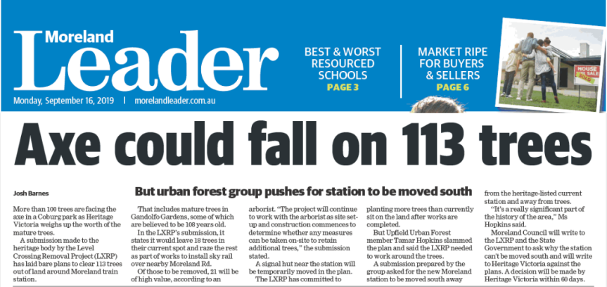 Moreland Leader: Urban Forest Group urges Moreland Station moved south