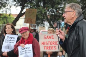Shane Moloney speaking at Save the Trees Gandolfo Gardens Community Rally October 20